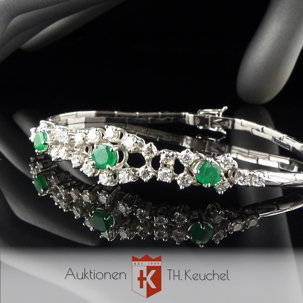 Armband Smaragde Diamanten Brillanten Weiss Gold 18K 750 Wert ca. € 3.300.