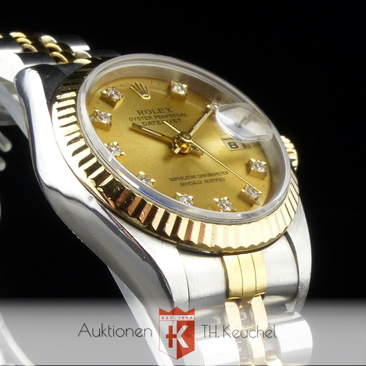 Rolex Lady Datejust Stahl Gold Diamond Dial Ref 69173 Zertifikat