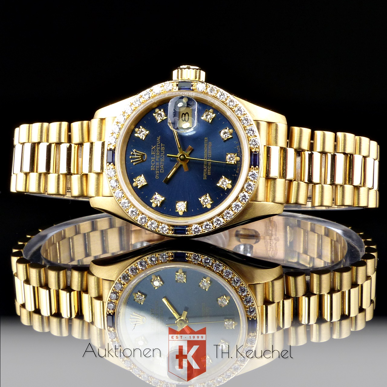 Rolex President Lady Datejust Gold 18k Original Brillanten Saphire
