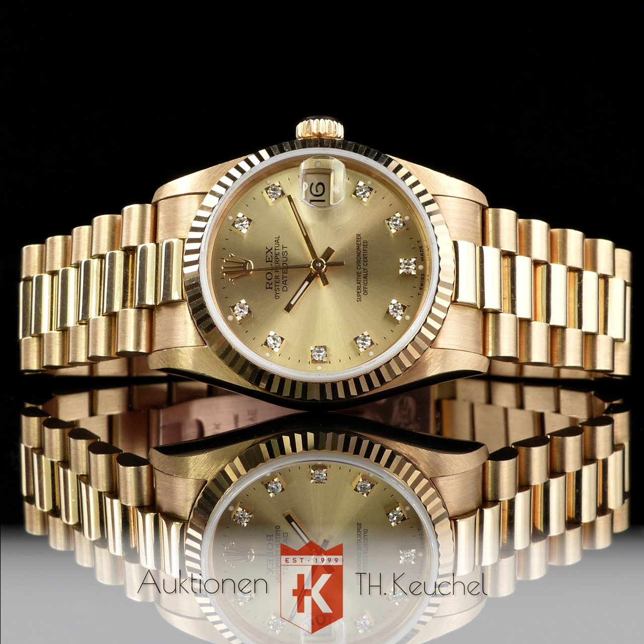 Rolex Oyster Perpetual Datejust Diamond Dial Gold 18k 31 Mm Ref