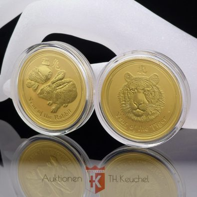 2 x Goldmünze 50 Dollars Elizabeth II Australia je 1/2 OZ Feingold 2010 Year of the Tiger + 2011 Year of the Rabbit