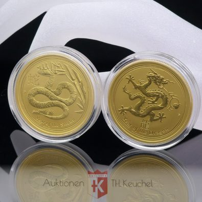 2 x Goldmünze 50 Dollars Elizabeth II Australia je 1/2 OZ Feingold 2012 Year of the Dragon + 2013 Year of the Snake