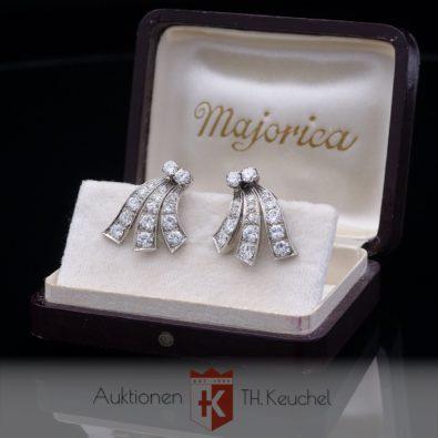Ohrclip 585/14K Weißgold ca. 1940 mit Diamanten Amsterdamer + Altschliff ca. 2,20 ct Wert ca. € 4.500.-