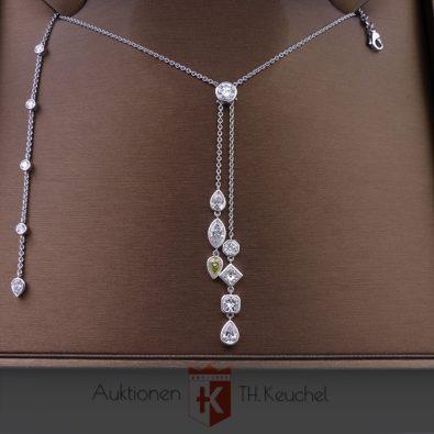 Unikat / Anfertigung: Colllier in Weissgold 18K / 750 mit Diamanten von zus. 6,51 ct Wert ca. € 64.500.-