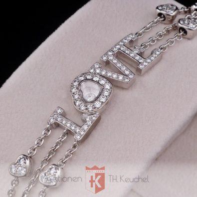Armband Chopard Happy Diamonds LOVE Herz Weissgold 750 Brillanten 1,54 ct Ref. 853225