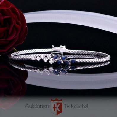Armband Weissgold 14K 585 Brillanten Saphire