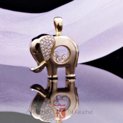 LUC Chopard Happy Diamonds der große Elefant mit Brillanten Gold Elephant